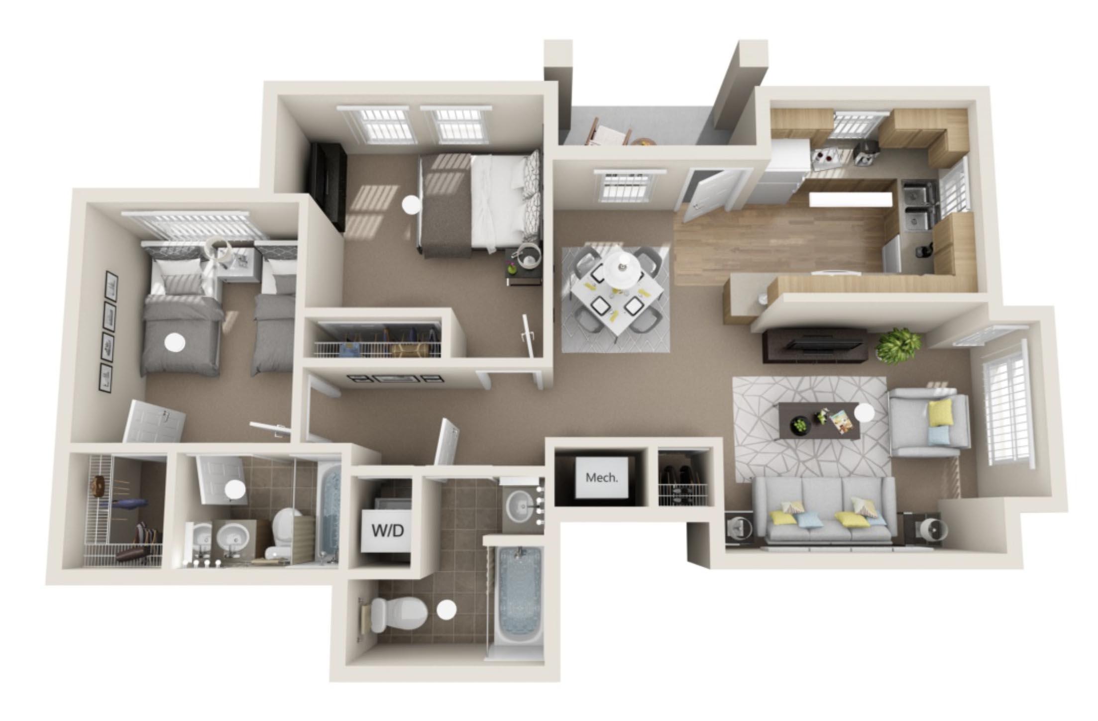 2 bedroom, 2 bath Flat - 979 sqft*