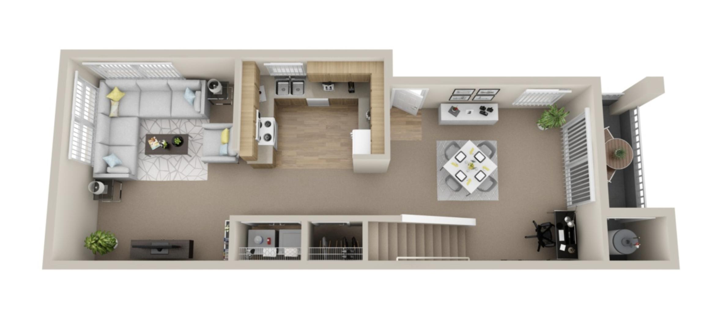 2 bedroom, 2 bath 1st floor Townhome - 1,033 sqft*