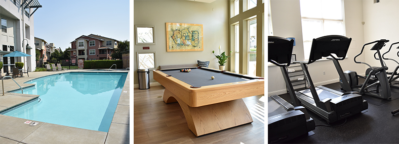 Three photos of pool area, pool table and workout room